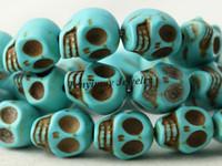 türkis schädel perlen groihandel-Großverkauf 120pcs 8x10mm Schädel-Türkis-Korne für DIY 10 Farben wählen