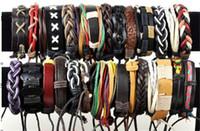 Wholesale Handmade Surfer Bracelets - Brand New Fashion Jewelry Mix Lots 36pcs Assorted Handmade Leather & Hemp Surfer Bracelets Chain Free Shipping[B395*36]