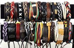 Wholesale Assorted Mixed Fashion Jewelry - Brand New Fashion Jewelry Mix Lots 36pcs Assorted Handmade Leather & Hemp Surfer Bracelets Chain Free Shipping[B395*36]