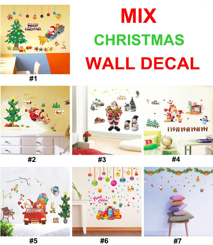 Christmas Wall Decals Removable.Christmas Wall Stickers Removable Xmas Wall Decal Decor 50x70cm 2014 Christmas Decorations Idea Wall Art Sticker Quotes Wall Art Stickers From