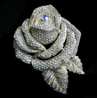 Wholesale Rose Bouquet China - Extra Large Sparkly Silver Bridesmaid Bridal Rose Brooch Flower Diamante Wedding Bouquet Pin Prom Party Gifts Top Quality 3 Inch
