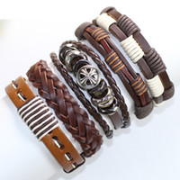 Wholesale Ethnic Braided Bracelet - F90-free shipping (5pcs lot) exquisite handmade jewelry ethnic genuine braid leather bracelet with hemp rope for gift
