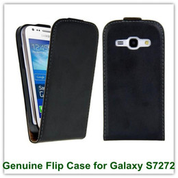 Wholesale Galaxy Ace X - 10PCS X Black Color Really Genuine Leather Flip Back Cover Case for Samsung Galaxy Ace 3 S7272 S7275 Free Shipping