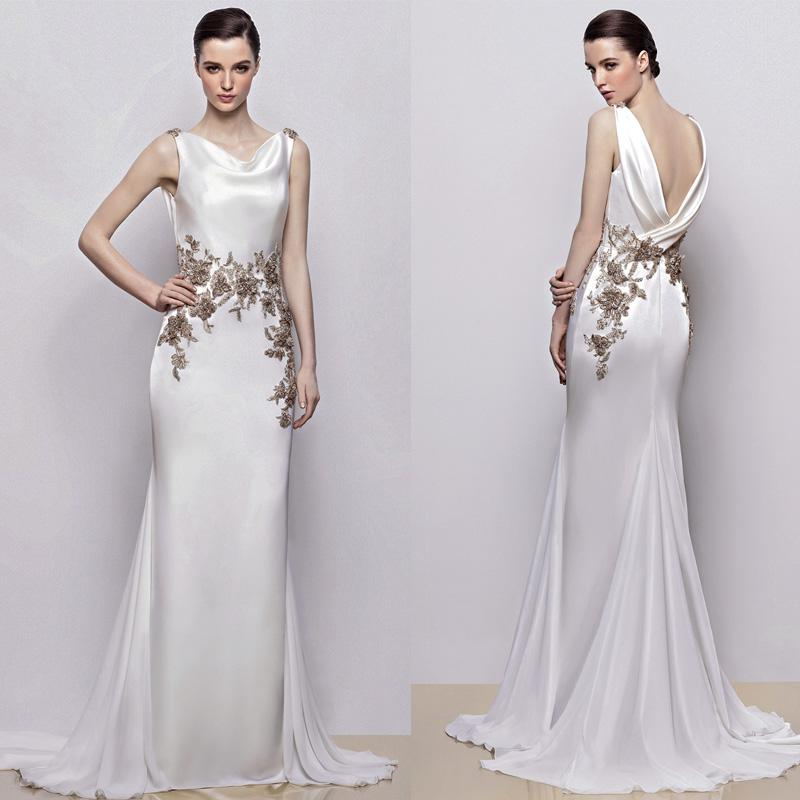 Grecian Style Wedding Gown: Grecian Inspired Satin Sheath Wedding Gown Inara By