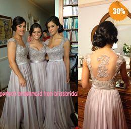 Hot Zuhair Murad con cuello en V una línea casquillo manga gasa con cuentas de coral / plata / lavanda / púrpura vestidos de dama de honor barato en vestidos de noche desde fabricantes