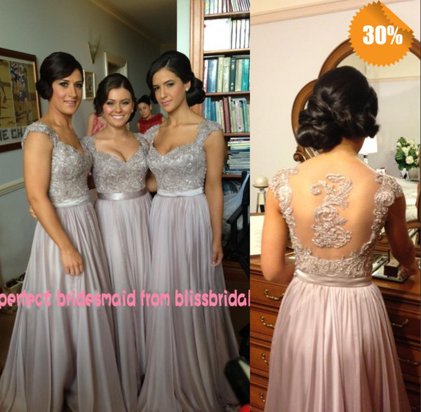 top popular Hot Zuhair Murad V-Neck A-Line Cap Sleeve Chiffon Lace Beaded Coral Silver Lavender Purple Bridesmaid Dresses Cheap In Stock Evening Dresses 2021