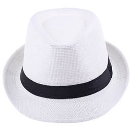 236eacc4656 Straw Fedoras Wholesale UK - Vogue Men Women Straw Fedora Hat Fashion Lithe Summer  Beach Casual