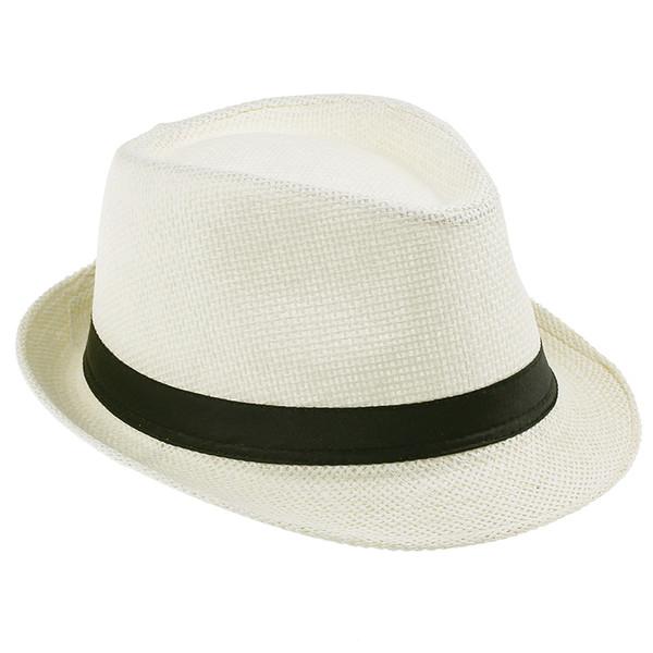 Vogue Men Women Straw Fedora Hat Beige Fashion Simple Lithe Summer Beach Casual Hat ZDS6*1
