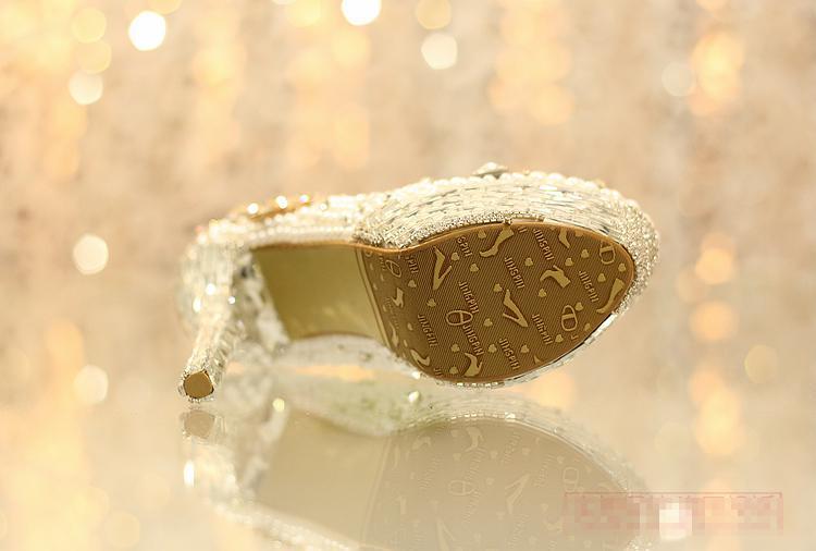 Newest Rhinestone Pearl eddingCrystal Tassels Bride Wedding Women's Shoes Nightclub Platform Dress Shoes