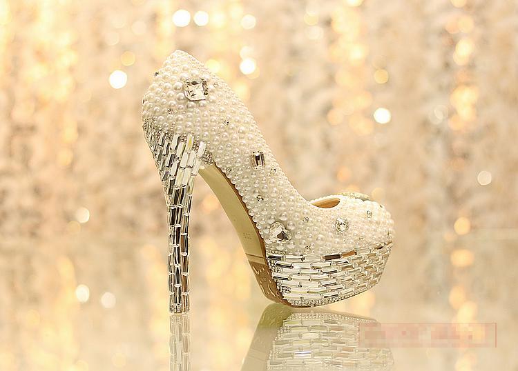Nyaste Rhinestone Pearl Eddingcrystal Tassels Bride Wedding Women's Shoes Nightclub Platform Dress Shoes