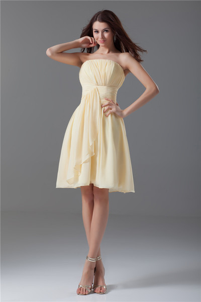 best selling Free Shipping A Line Scalloped Sleeveless Knee Length Little Yellow Dress Cheap Formal Bridesmaid Cocktail Party Short Prom Dresses