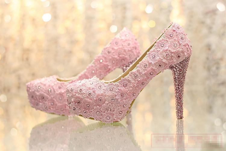 El más nuevo Sweetness elegante del cordón rosado de los zapatos de la novia zapatos de la boda de la plataforma del tacón alto tamaño 34-39 bombas de tacón de aguja del partido