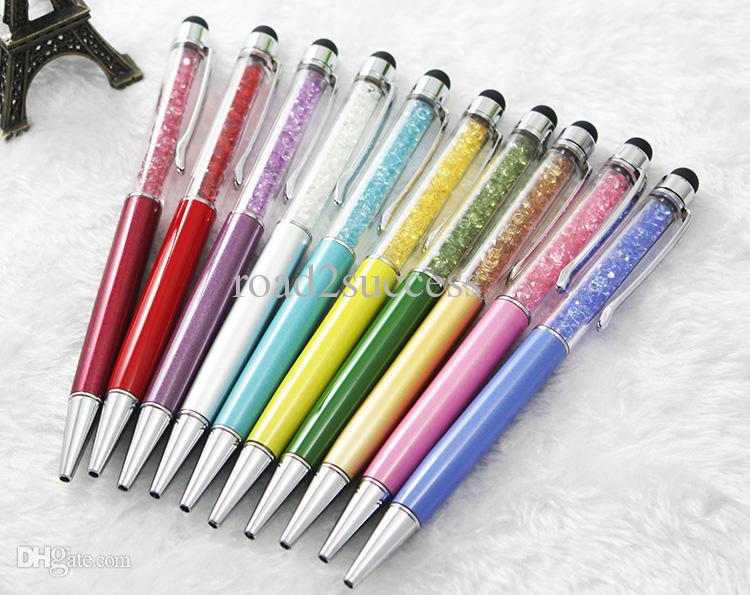 2 en 1 cristal capacitiva de la aguja + la pluma de escritura para el teléfono móvil Tablet PC o con el envío de goma de DHL Fedex libre CH8562138