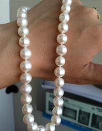 "Wholesale Pearl Akoya White - New Fine Pearl Jewelry Natural 9-10mm white akoya AAAA++ pearl necklace 18"" 14k"