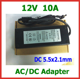Discount 12v dc power cables - AC DC Adapter 12V 10A AC 100-240V 120W Power Supply Adapter 5.5x2.1mm Charger with AC Cable