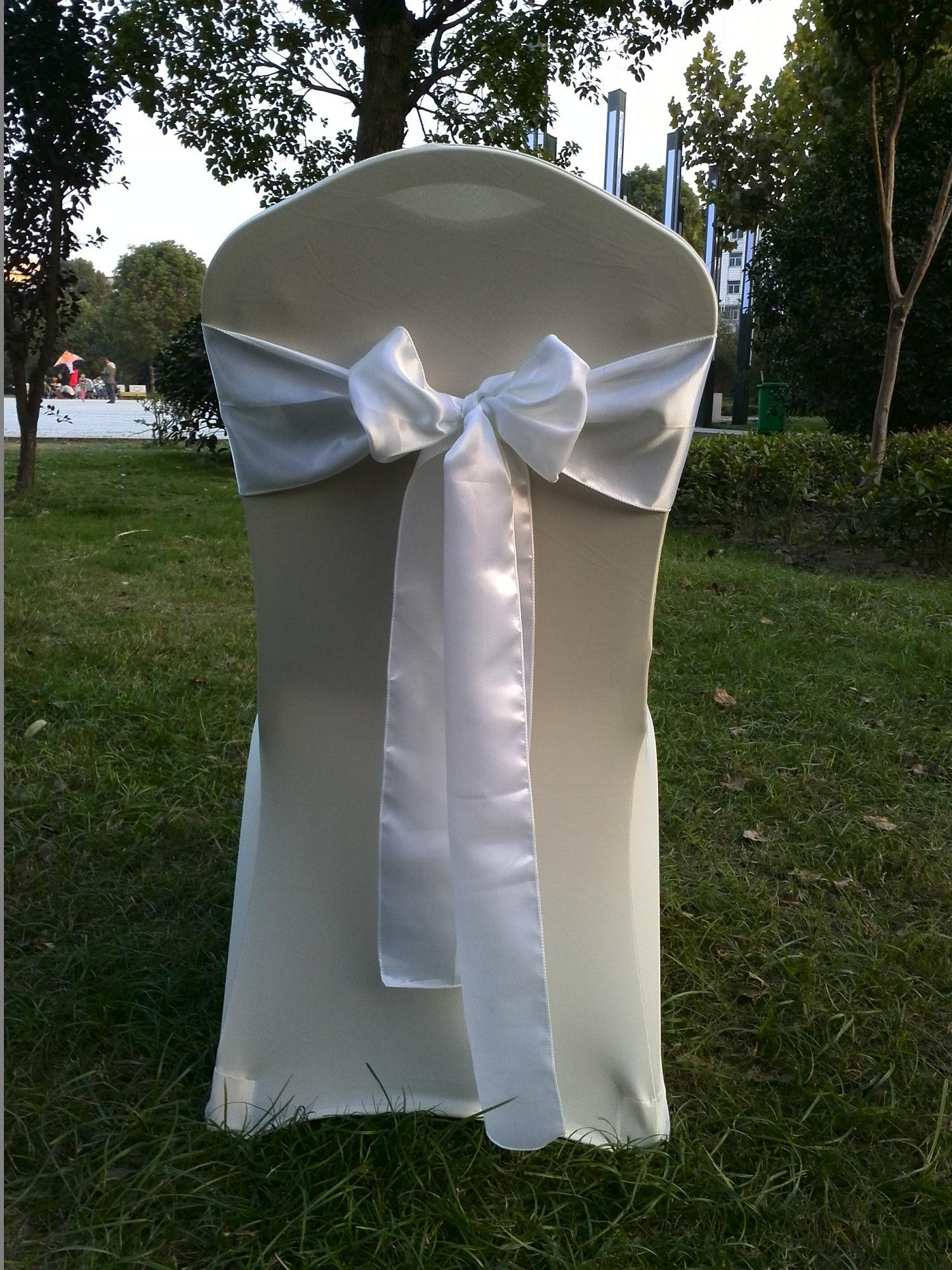 White Satin Chair Sash Bow Ribbon Wedding Party Banquet Decoration