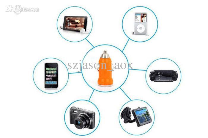 cargador de coche mini USB colorido para el iPhone 3GS 4G 4S 5 para MP3 MP4 HTC Samsung S3 S4 N7100 FEDEX