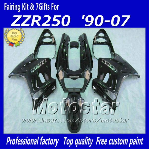 7 gifts motorcycle fairing kit for Kawasaki 90-07 ZZR-250 ZZR250 ZZR 250 1990 -2007 free shipping glossy black fairings bodywork set fa4