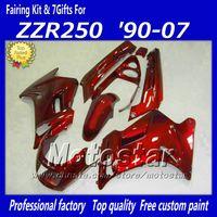 пластмассовые мотоциклы для kawasaki zzr оптовых-7 подарков все красный пластиковый мотоцикл обтекатель комплект для Kawasaki 90-07 ZZR-250 ZZR250 ZZR 250 1990 -2007 бесплатная доставка обтекатели кузова fa5