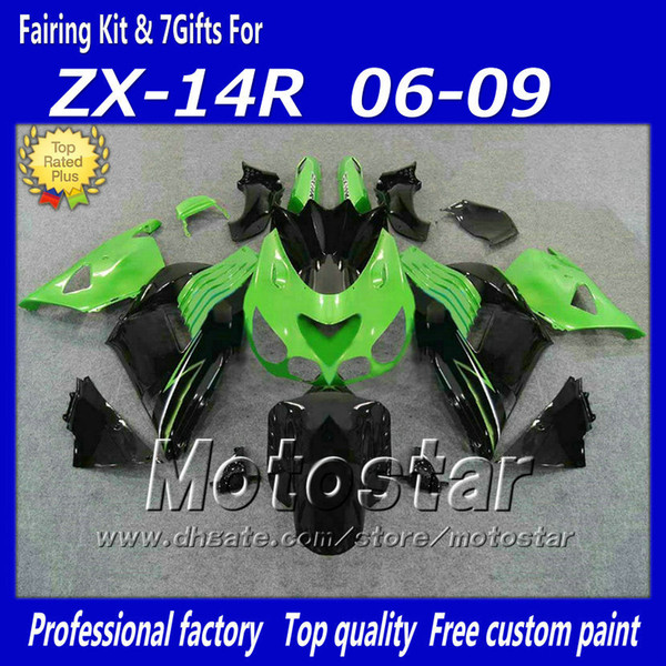 Carenados de inyección 100% establecidos para Kawasaki Ninja ZX14R 2006 2007 2008 2009 ZX14 06 07 08 09 ZX 14R kit de carenado fa12