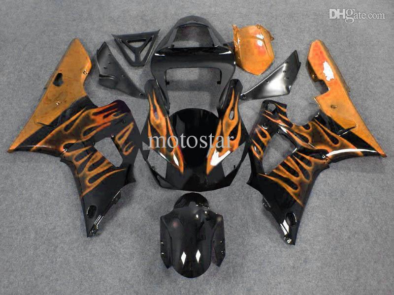 7 Geschenke goldene Flamme schwarze Motorradverkleidung für YAMAHA 2000 2001 YZF-R1 00 01 YZFR1 YZF R1 ABS Kunststoff-Motorradverkleidungen Set fd15