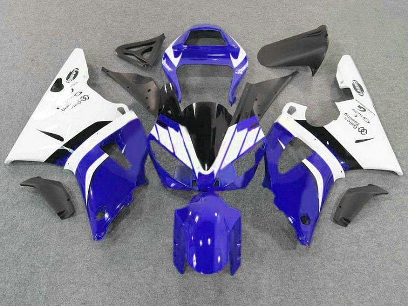 ヤマハ2000 YZF-R1 2001 YZFR1新しいアフターマーケットブラックホワイトブルーフェアリゾートYZF R1 00 01 + 7ギフトFD22