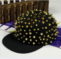 Wholesale Studded Hip Hop Hat - New Silver Spike Rivet Snapback Stud Hedgehog Punk Rock Studded Baseball Hip-hop Hat Cap Christmas Gift L395