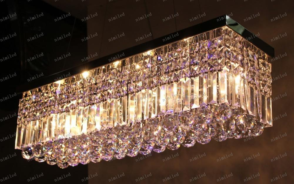 LLFA98 envío gratis K9 LED araña de cristal lámparas rectangulares llevó la barra de techo moderna iluminación L 50 * W 22 cm