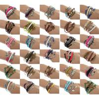 Wholesale One Direction Anchor Bracelet - 12pcs lots One Direction Anchor Infinity Antique Cross Love Peace Heart Music Mix Wish Leather Bracelet Charm Wristbands [JB03110M*12]