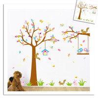 Wholesale Happy Tree Sticker - Free shipping Happy Birds and Cute Squirrel Playing on the Tree, Large Cartoon Wall stickers, Removable Diy kids room stickers