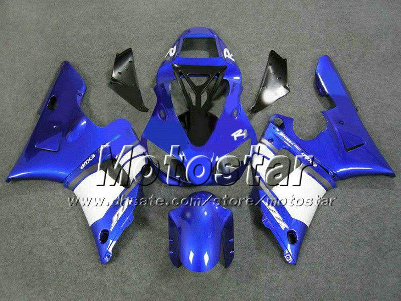 Blå Svart Vit Högkvalitativa Body Kit för Yamaha YZF-R1 98 99 YZFR1 YZF R1 1998 1999 YZFR1000 Fairing Aftermarket Parts