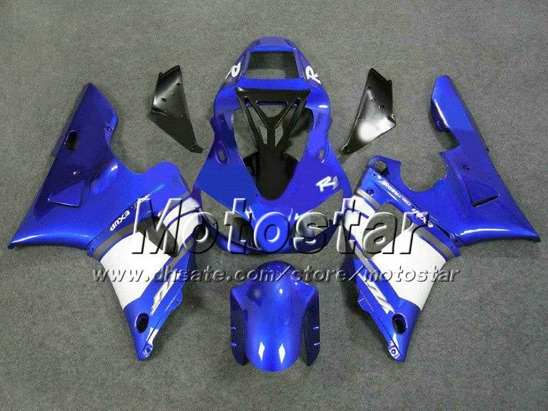YAMAHA YZF-R1 용 블루 블랙 화이트 고급형 페어링 바디 키트 98 99 YZFR1 YZF R1 1998 1999 YZFR1000 페어링 애프터 마켓 부품