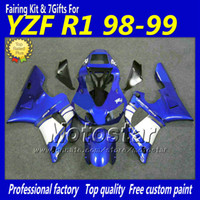 yamaha r1 satış sonrası flamalar toptan satış-Mavi siyah beyaz yüksek dereceli marangozluk vücut kiti YAMAHA YZF-R1 98 99 YZFR1 YZF R1 1998 1999 YZFR1000 kaporta satış sonrası parçaları