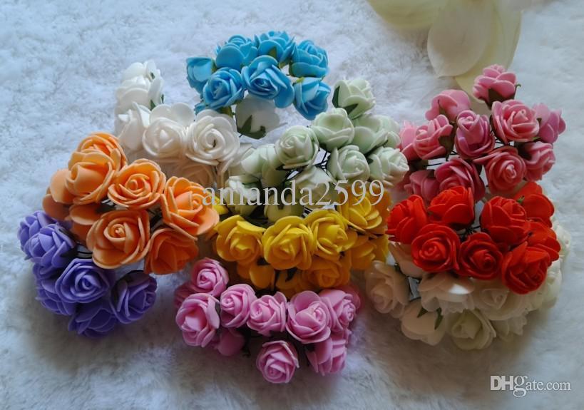 / 50bunches 10C disponible DIA 2cm PE artificial flor de espuma rosa ramo diy caja de dulces de la boda muñeca de la historieta accesorios para el cabello material