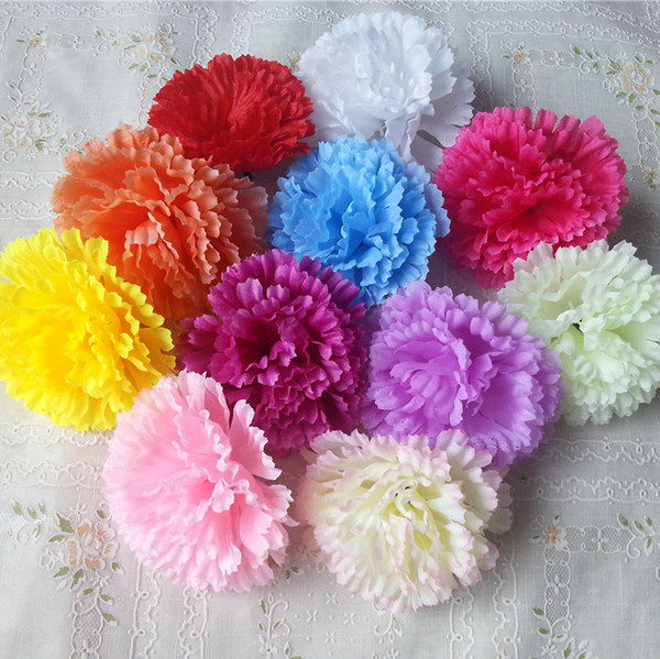 9cm 100pcs 9 colors available Artificial Silk Carnation Flower Heads Mother's Day DIY Jewelry Findings headware