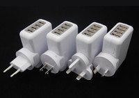 Wholesale Drop Shipping Usb Wall Charger - 4 Port USB AC Adapter US   EU   UK   AU Plug Wall Charger for iPhone 4   4S for iPad 2   3 mp3 mp4, Free Shipping Drop Shipping