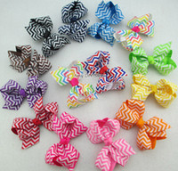 Wholesale Chevron Hairbands Wholesale - 60pcs lot baby ribbon bows WITH clip hairclips,hair accessories boutique bows,girls chevron bow,Girl hairbow Alligator clip HJ003+4.5CM