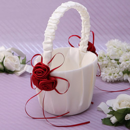 Wholesale Satin Flower Girl Baskets - Red rose flower baskets satin cloth flower basket Flower Girl Baskets for Wedding supplies for free shipping