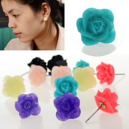 Wholesale Stainless Steel Carved Earring - 30 Pair lot + Lovely Sweet Carved Rose Flower Ear Stud Earrings Fashion Earring For Women [JE20027*5]
