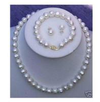 akoya perlen barock großhandel-Neue Feine Perlenschmuck Natürliche Echt AKOYA 18 ZOLL 10-11 MM weiß BAROCK Perlenkette Armband Ohrring Set 14 Karat