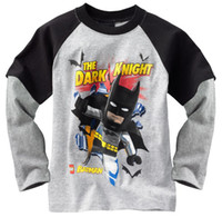 Wholesale Yellow Long Sleeved Tshirt - Batman Boy's tshirts Long Sleeve Jersey Kids Tshirt Boys Clothes Children's Tee Shirts W145