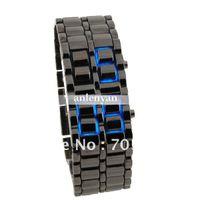 Wholesale Samurai Led Black Wrist Watch - Wholesale - Stylish Samurai Blue Light Stainless Steel Men's led Watch Bracelet, LED Wrist watch (Black) Free Shipping