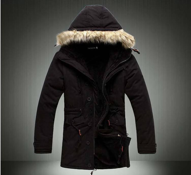 2017 New Mens Fur Collar Jacket Winter Hooded Parka, Medium Long ...