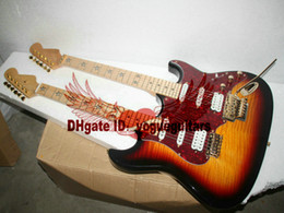 Wholesale Double Neck Guitar Sunburst - Custom shop Double neck guitars 6 strings 12 strings Electric Guitar in Vintage Free Shipping