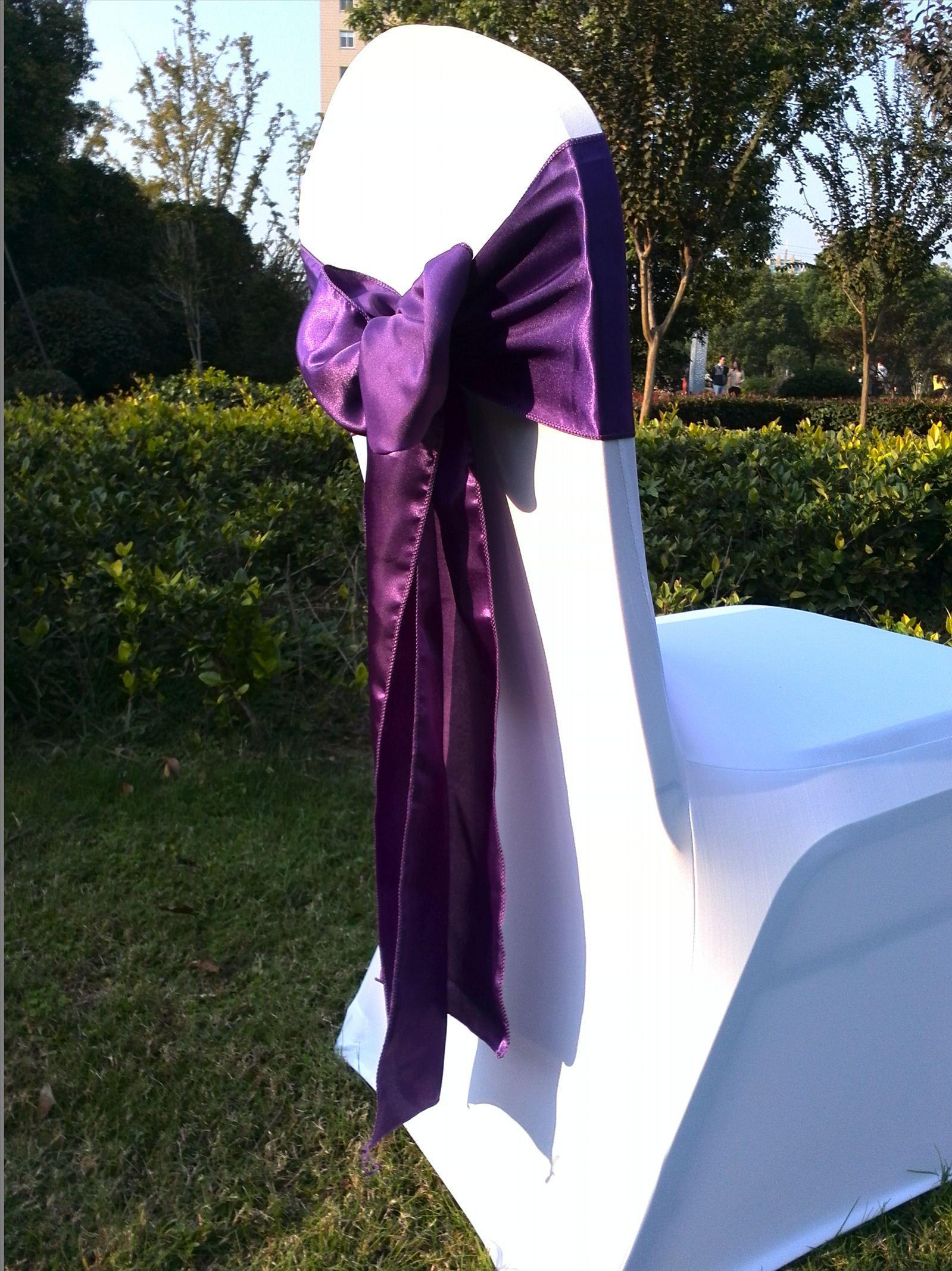 Wholesale 100 White Spandex Chair Cover 100 Dark Purple Satin