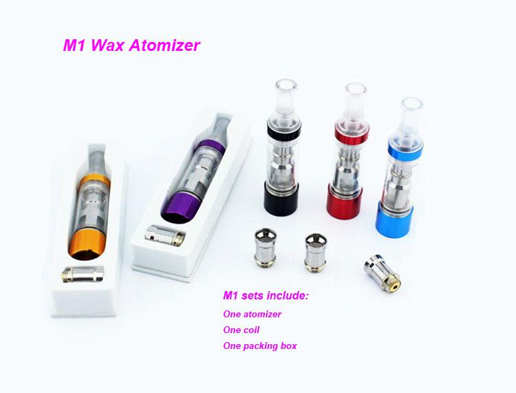 Newest arrival clearomizer M1 wax atomizer coil changeable with LED light M1 dry herb vaporizer tank fit all ego battery Ego vv ego twist