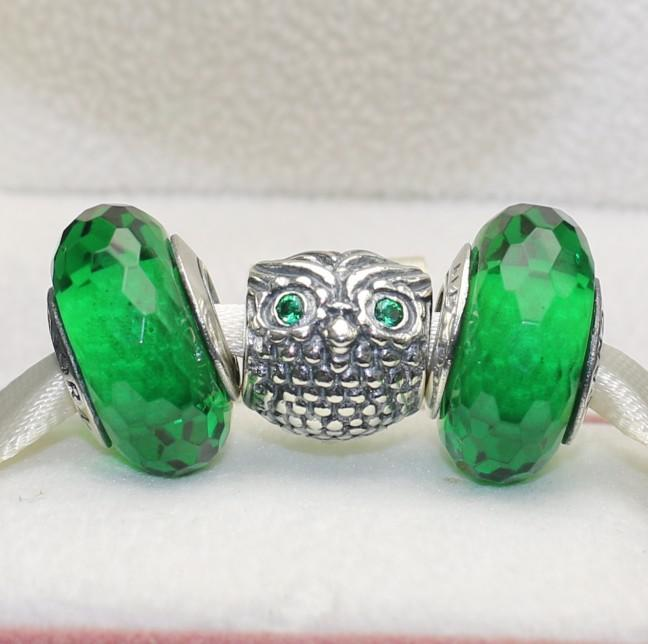 S925 Sterling Silver Owl Charms and GreenMurano Glass Beads Charm Jewelry Set Fit European Style Jewelry Bracelet & Necklace EN105