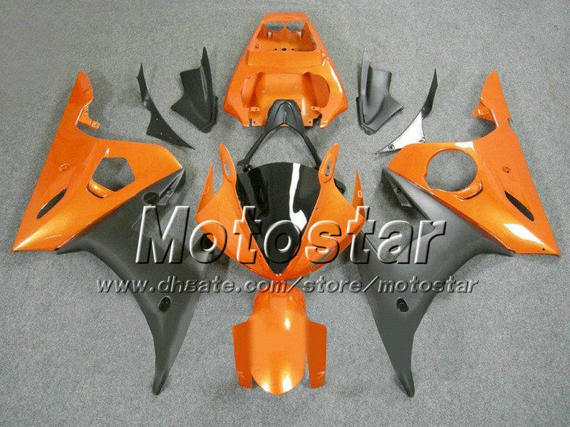 ヤマハYZF-R6 03 04 yzfr6 2003 2004年yzf600プラスチックボディワークフェアリングキットBY19のためのABSオレンジブラックオートバイの公平