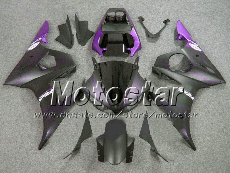 Purple flame matt black ABS plastic full fairing kit for YAMAHA YZF-R6 05 YZFR6 05 2005 YZF R6 YZF600 customize fairings set gh36