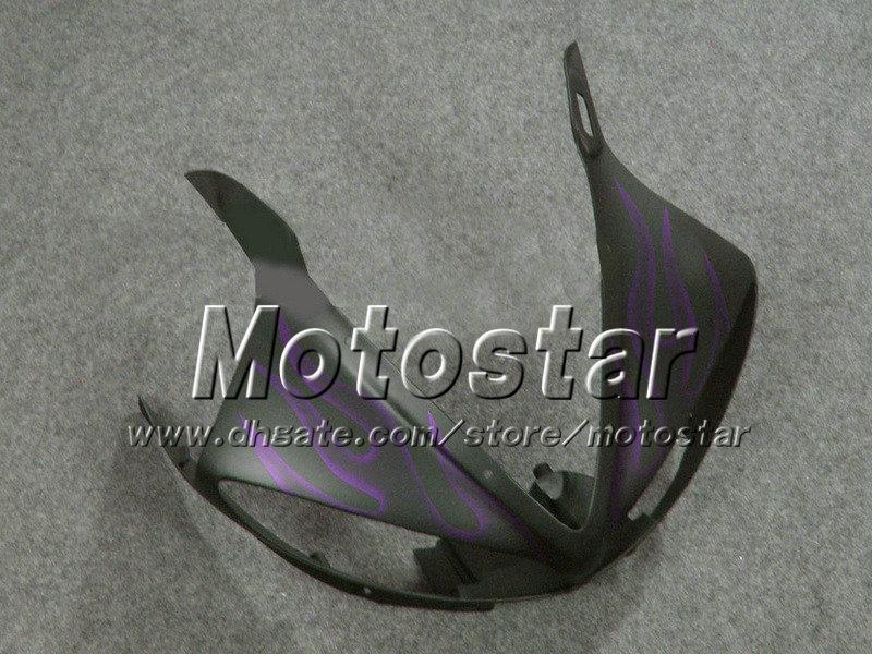 Lila Flamme mattschwarz ABS Kunststoff Vollverkleidung Kit für YAMAHA YZF-R6 05 YZFR6 05 2005 YZF R6 YZF600 Verkleidung Set Gh36 anpassen
